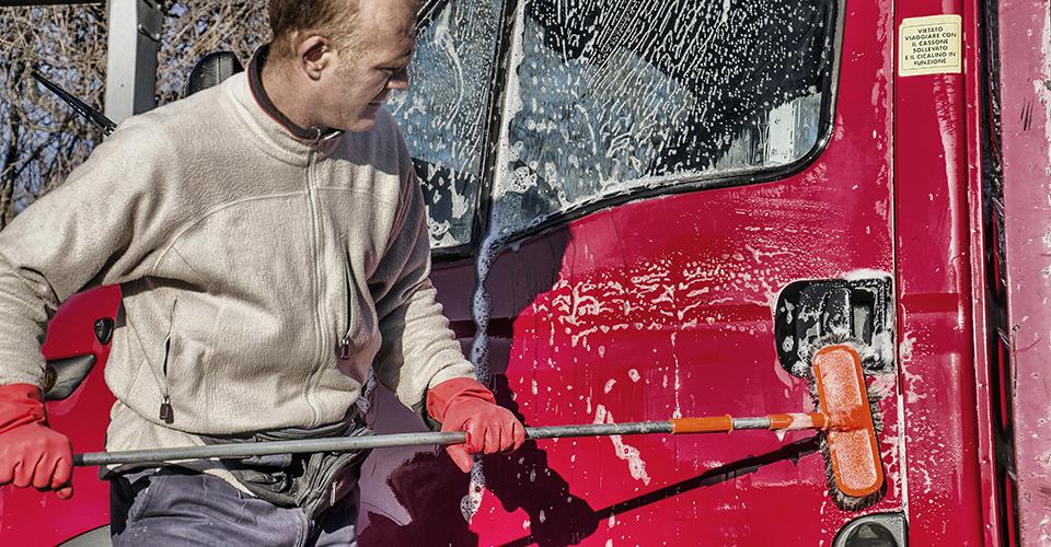 Reinigung eines Transporters